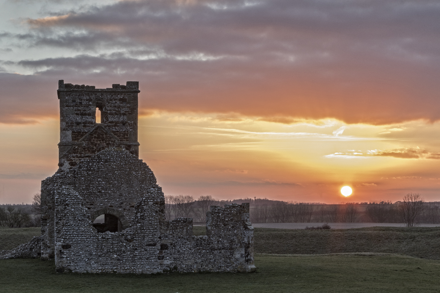 Sunset, Knowlton church