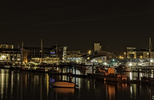 View from the Twin Sails bridge towards the RNLI Headquarters