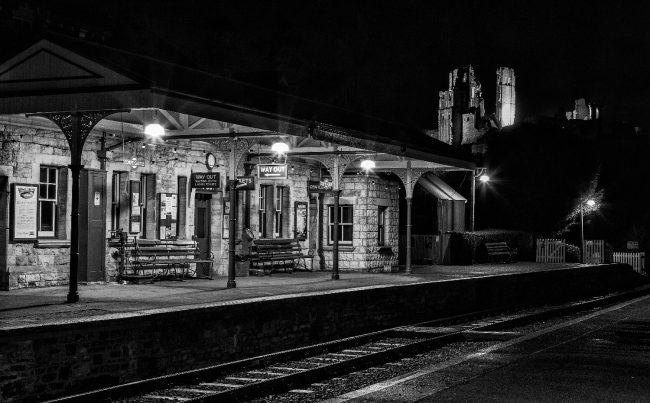 Deserted station with Corfe Castle behind