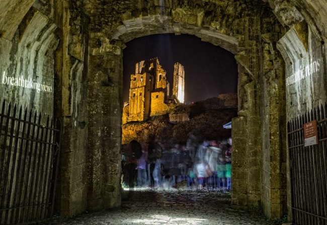 Corfe Castle through the archway