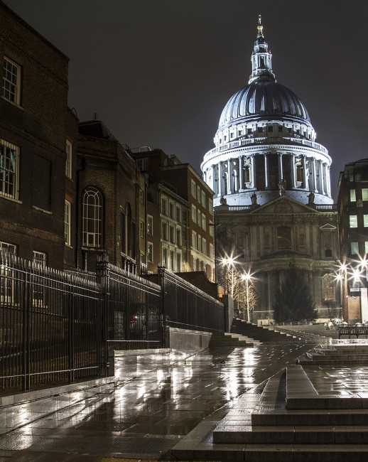 Steps to St Pauls at midnight