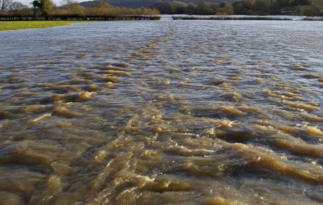Flow of water across the fields