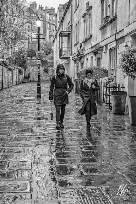 Cobbled street in the rain.