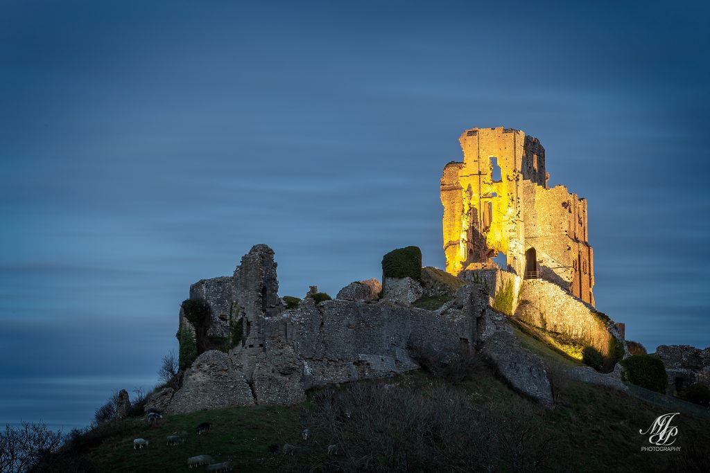 Corfe Castle at dusk