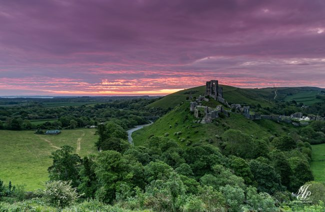 Just before sunrise Corfe Castle